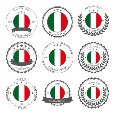 Made in Italy, seals, badges. Vector illustration