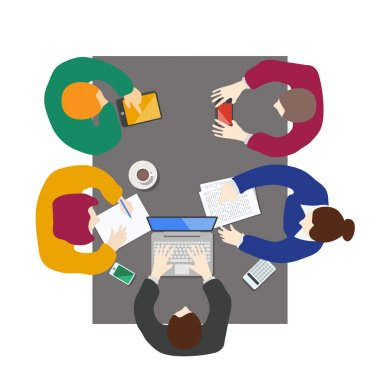 Flat style office workers business management meeting