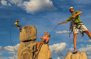 Husband and wife climbing team on the summit.