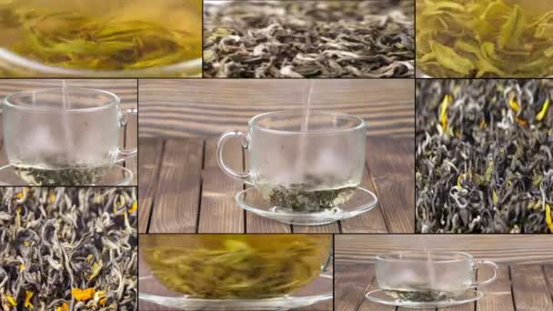 Tea being poured into glass tea cup, Green tea leaves close up rotation, collage. Multiscreen.