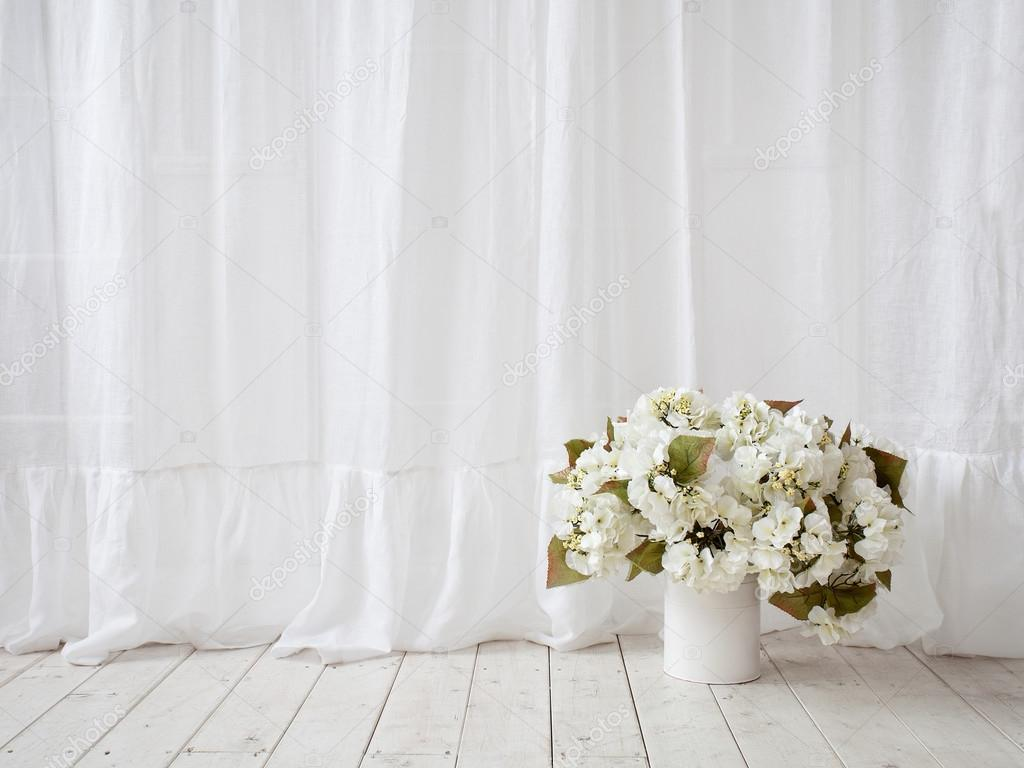 Window design white curtains vase with flowers on the wooden f white curtains vase with flowers on the wooden f stock photo mightylinksfo