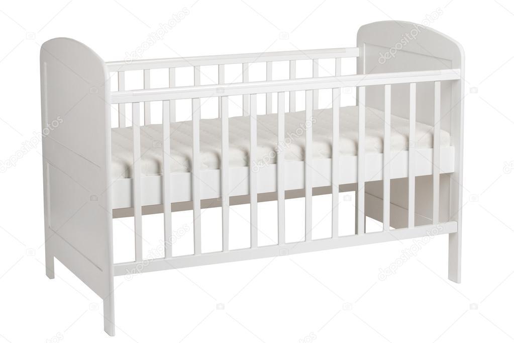 Cuna blanca para niños aislados sobre fondo blanco — Fotos de Stock ...
