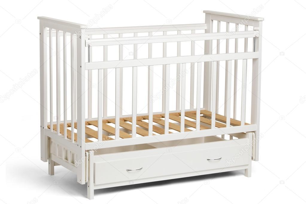 Cuna blanca para niños sin colchón — Foto de stock © Zdyma4 #104447996