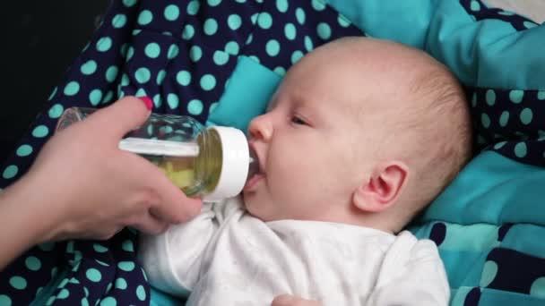 Newborn baby is sucking