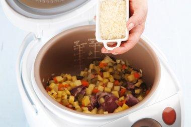 cooking vegetable stew in multicooker