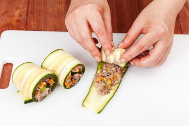 rolls with zucchini and meat