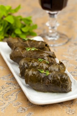 cabbage rolls in grape leaves
