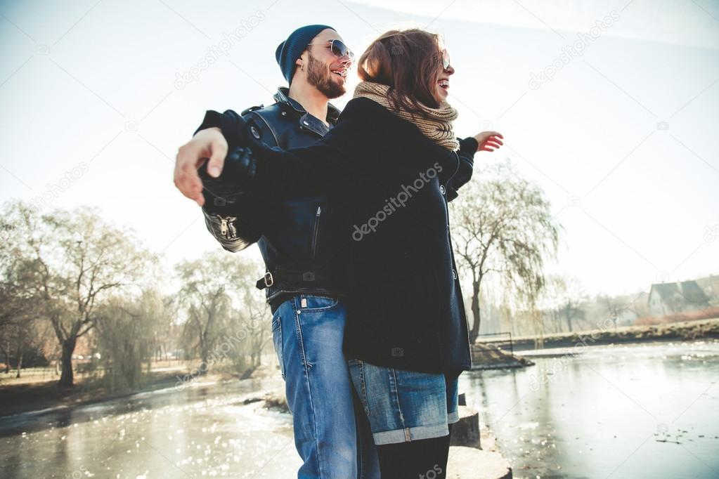 Beautiful rock and roll couple enjoy life outdoors