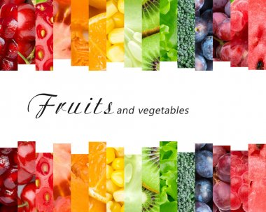 Fresh fruits and vegetables. Healthy food concept stock vector