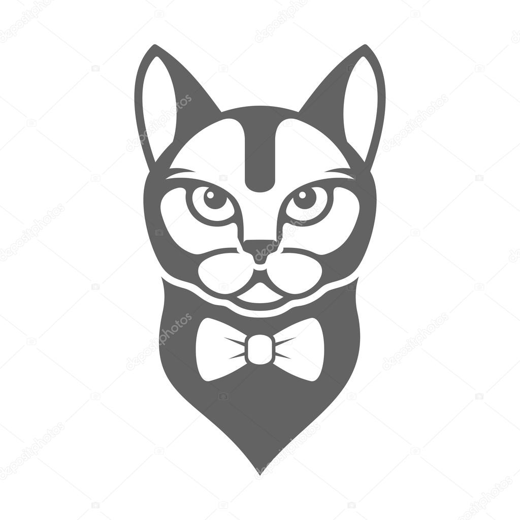 Portrait Of Hipster Cat With Bow Tie Isolated On White Background Vector Stock