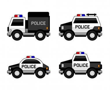 Police Car Set. Classic Black and White Colors. Vector