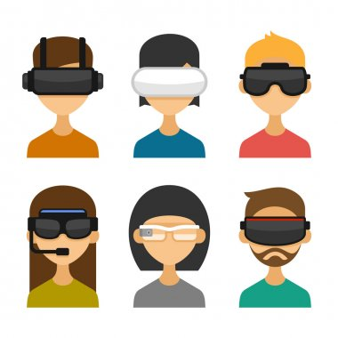 Avatars with Virtual Reality Glasses Icon Set. Flat Style Design. Vector