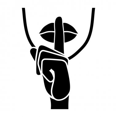 Silence Icon.  Fingers and Lips Whisper Sign. Vector