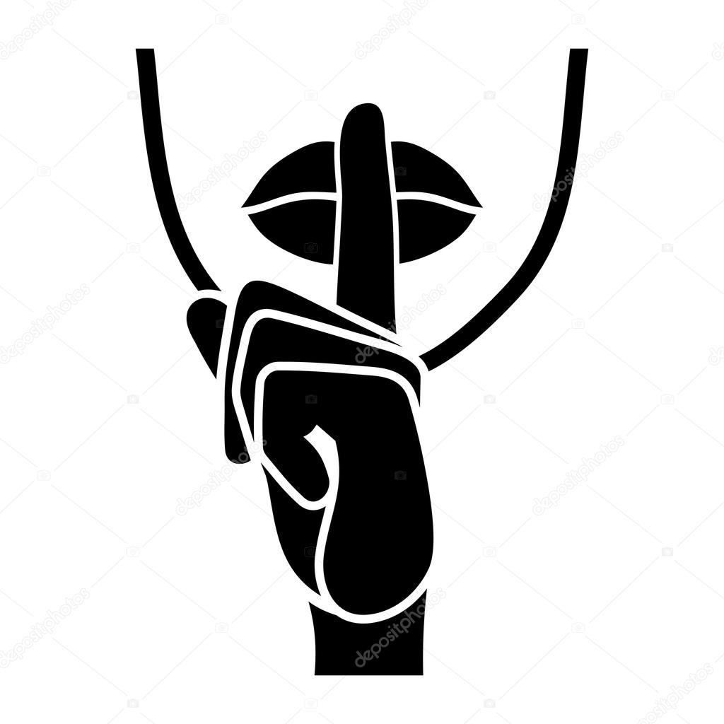 Icono de silencio. Los dedos y labios susurro signo. Vector de ...