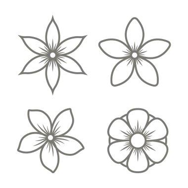 Jasmine Flower Icons Set on White Background. Vector