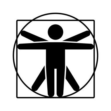 Leonardo da Vinci Vitruvian Man Sign Logo. Stick Style Icon. Vector