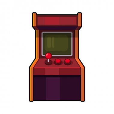 Classic Arcade Machine. Old Style Gaming Cabinet. Vector