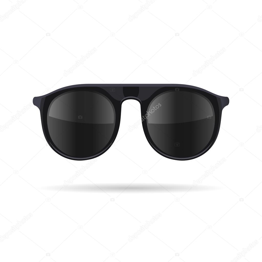86d4f277db48e Óculos de sol com óculos escuros sobre fundo branco. Vector — Vetores de  Stock
