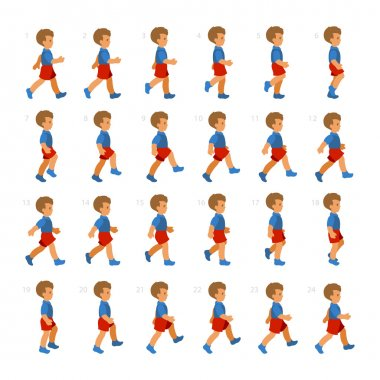 Phases of Step Movements Boy in Walking Sequence for Game Animation