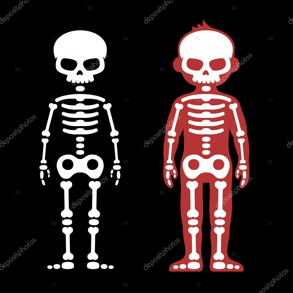 Conjunto de huesos humanos de esqueletos. Estilo de dibujos animados ...