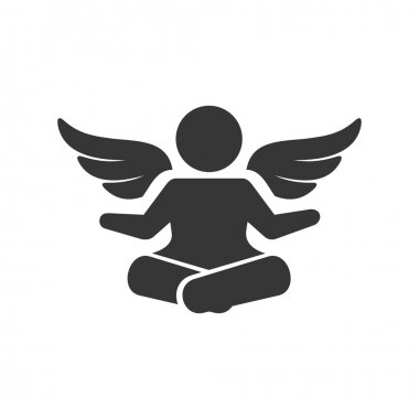 Angel Silhouette Logo. Man with Wings Sign. Vector