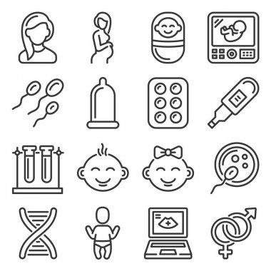 Pregnancy and Baby Planing Icons Set. Vector illustration icon