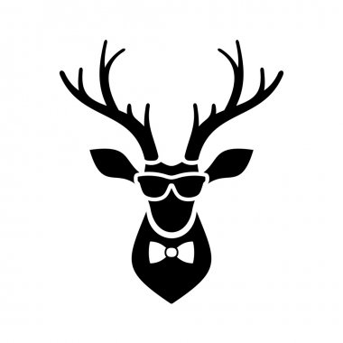 Deer Head Icon with Hipster Sunglasses and Bow Tie. Vector Logo