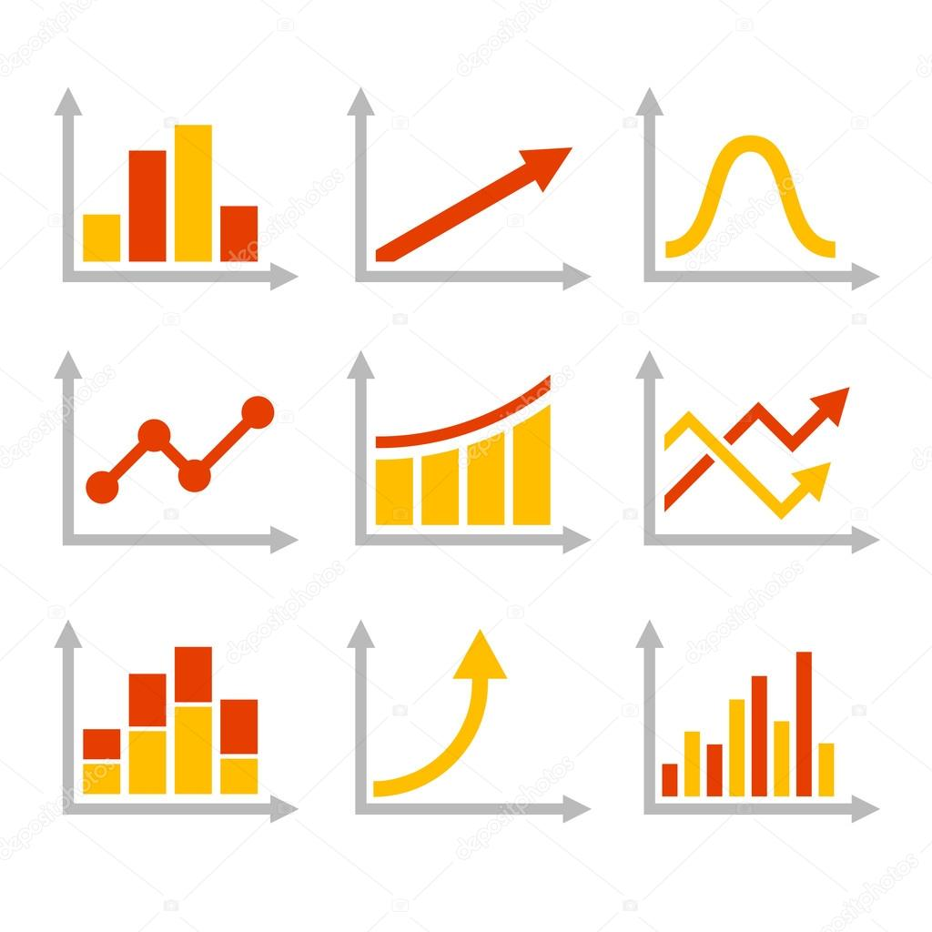 Color Graph Chart Icons Set. Vector