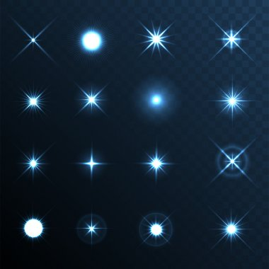 Light Glow Flare Stars Effect Set. Vector stock vector