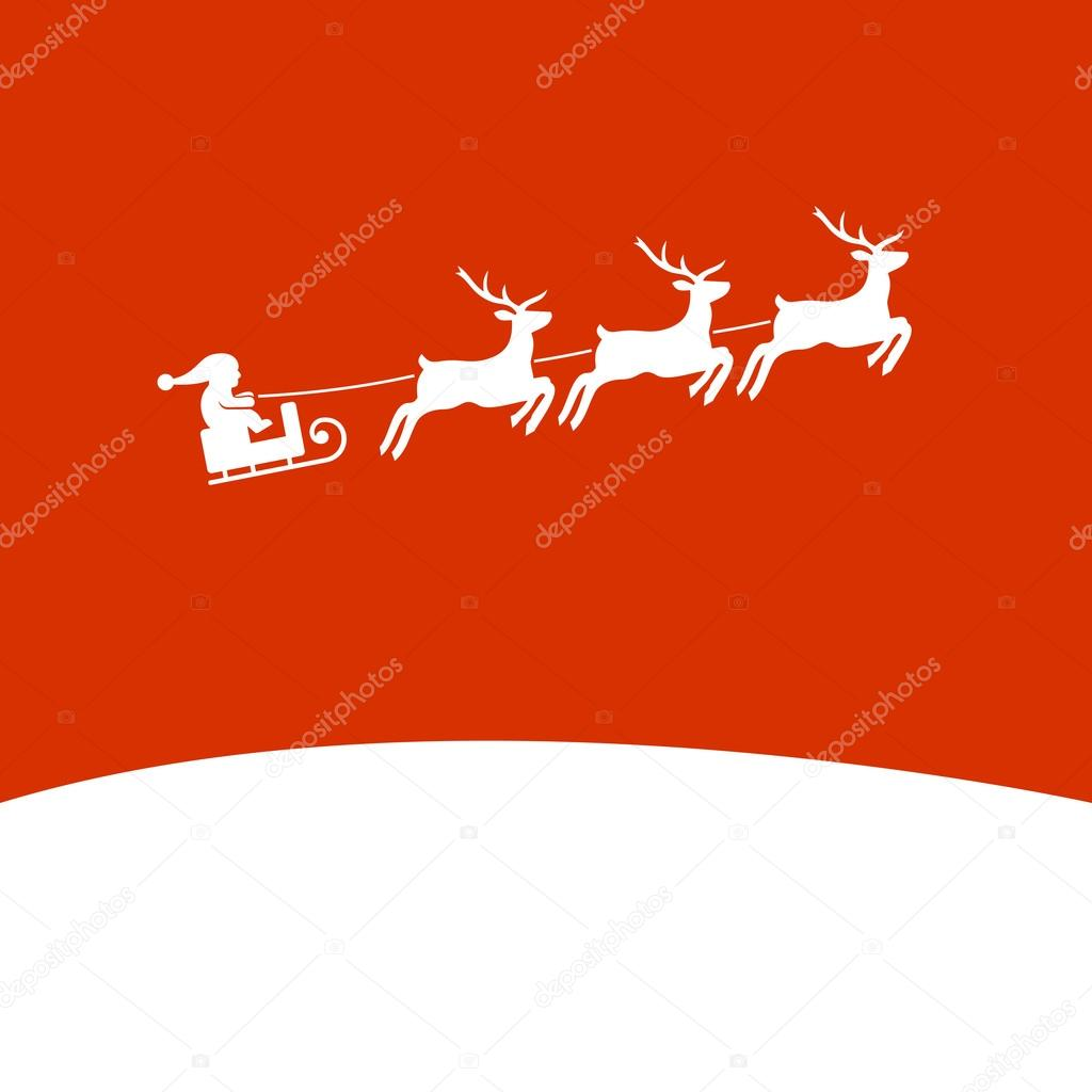Christmas Background with Santa and Deers. Vector