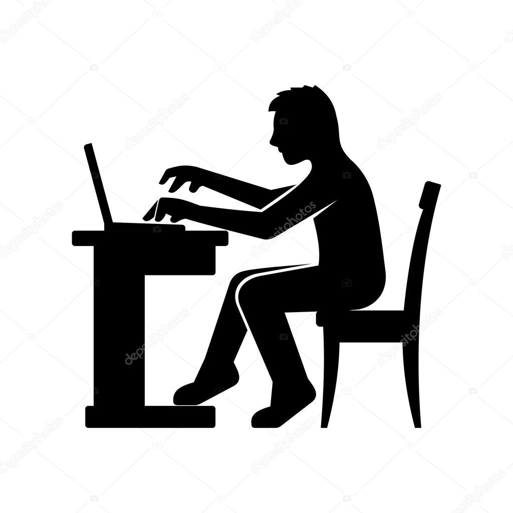 그의 컴퓨터에서 작업 하는 프로그래머 실루엣 벡터 스톡 벡터 169 In8finity 61624093
