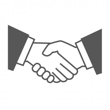 Gray Handshake Icon on White Background. Vector illustration stock vector