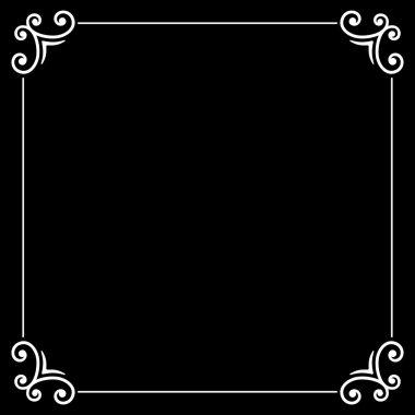 Retro Silent Movie Calligraphic Frame on Black Screen. Vector