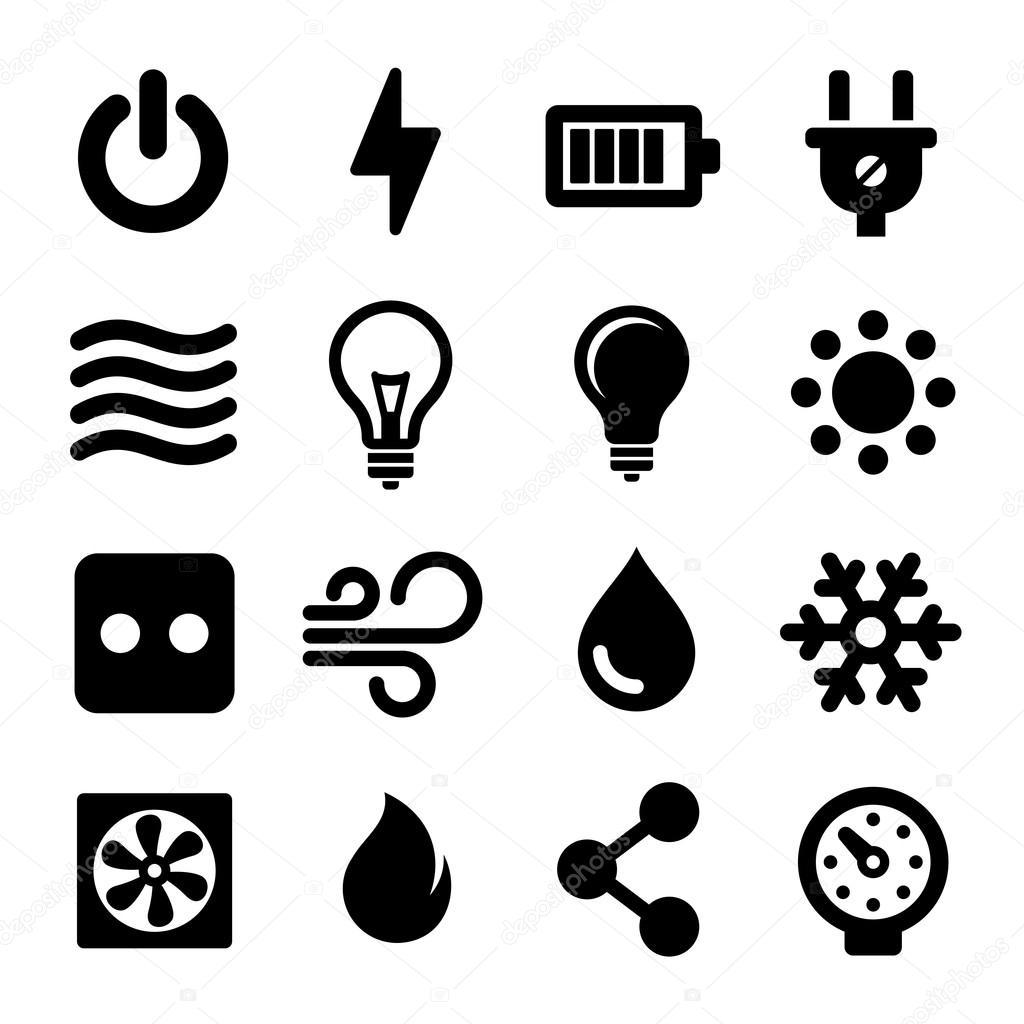 elektrische Symbole Satz — Stockvektor © in8finity #65918539