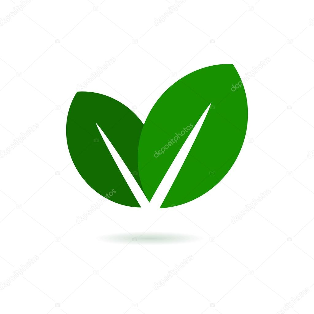 Eco Leaf Logo. Green Vector Icon