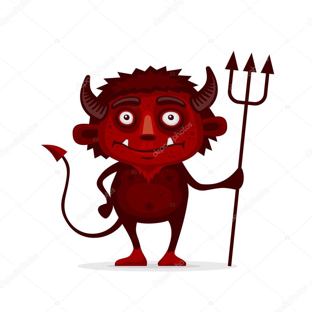 Rosso halloween diavolo con il tridente in stile cartone