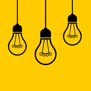 Light Bulbs Hanging from the Ceiling. Vector