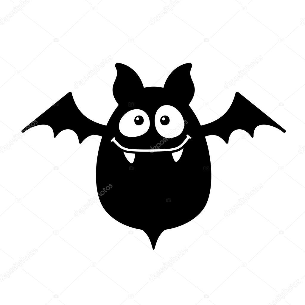Cartoon Style Smiling Bat on White Background. Vector