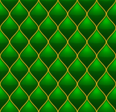 Green with Gold Quilted Leather Seamless Background. Vector