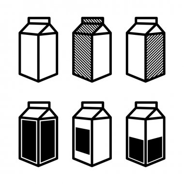 Milk and Juice Box Icons Set. Vector