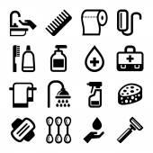Hygienická sada ikon na bílém pozadí. Vektor