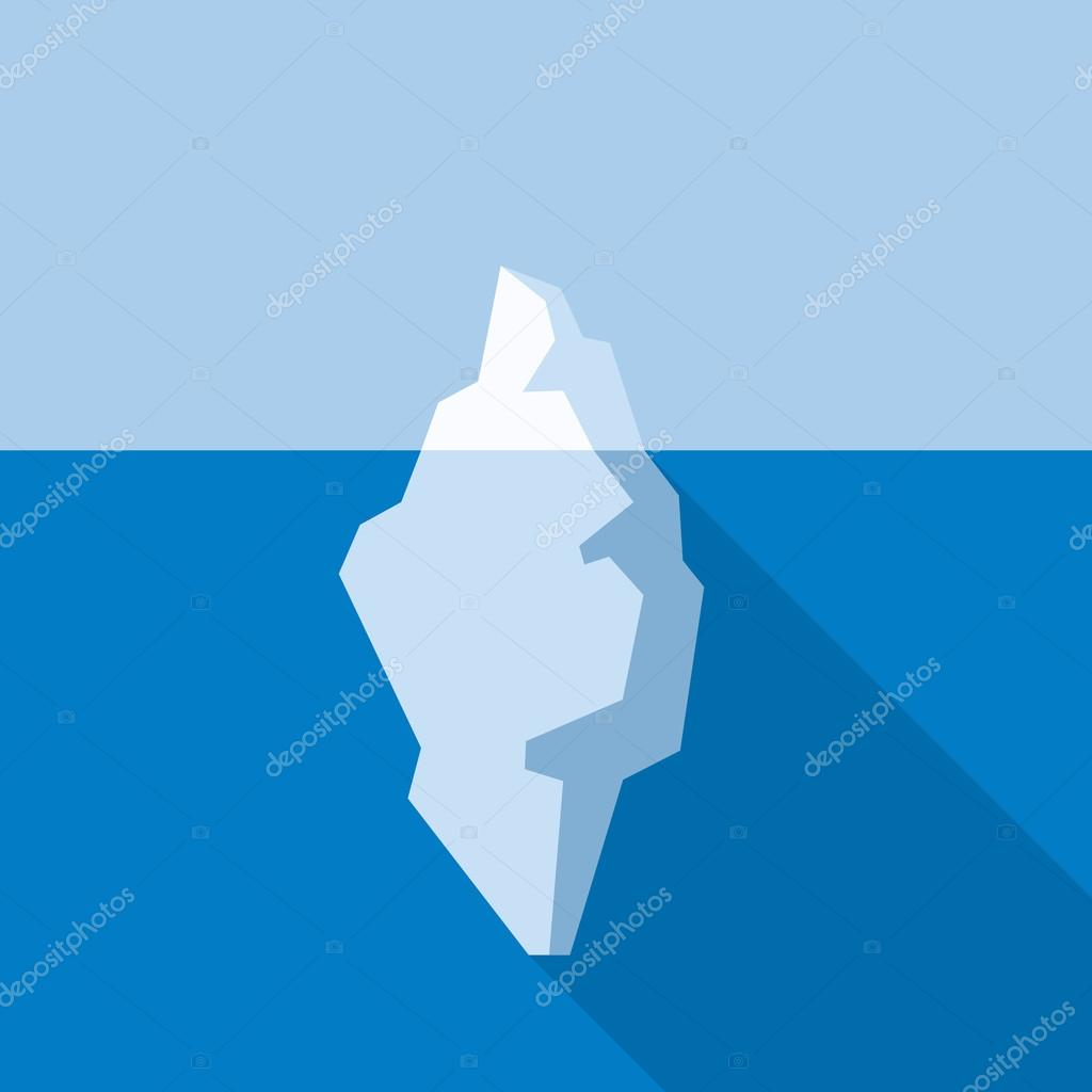 White Iceberg on Blue Atlantic Background. Flat Style. Vector