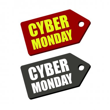 Cyber Monday Black and Red Labels on white background. Vector