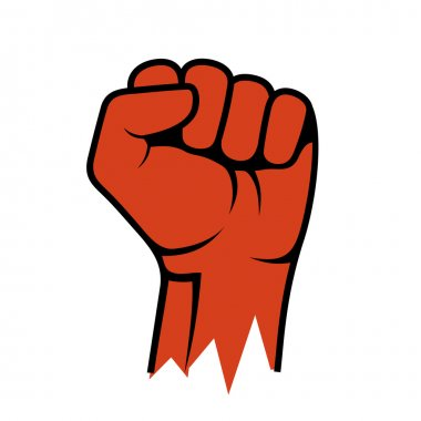 Raised Fist Icon. Hand Protest Strike Fight. Vector