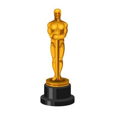 Golden Statue on White Background. Vector