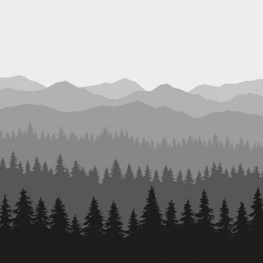 Coniferous Forest and Mountains Background. Vector