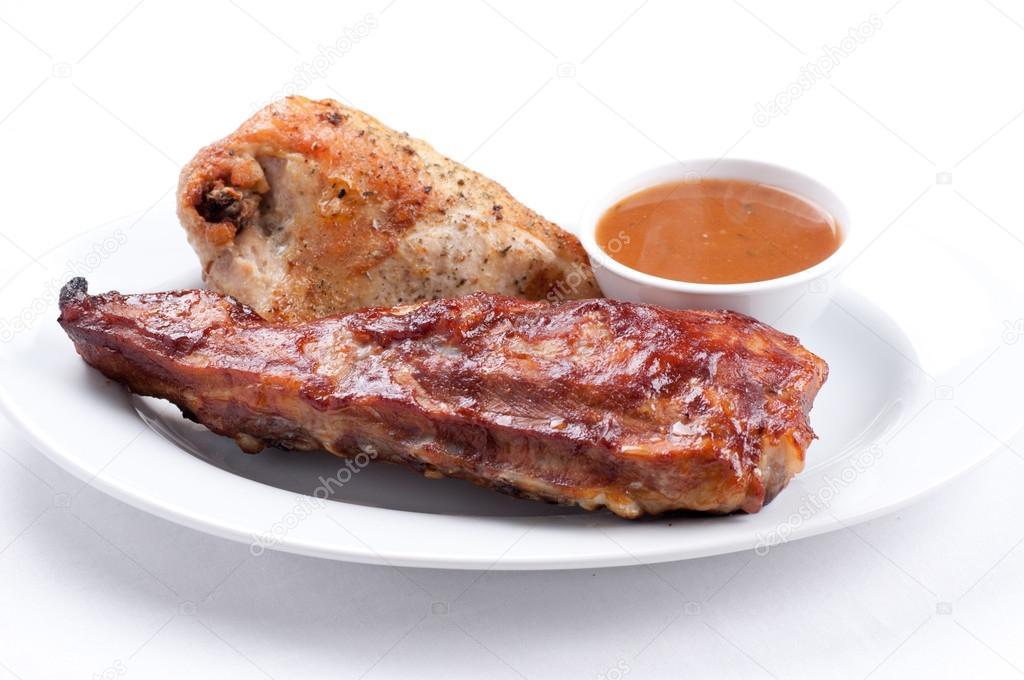 Pork side ribs and chicken
