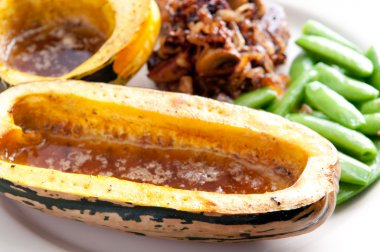 roasted squash and beef tenderloin steak