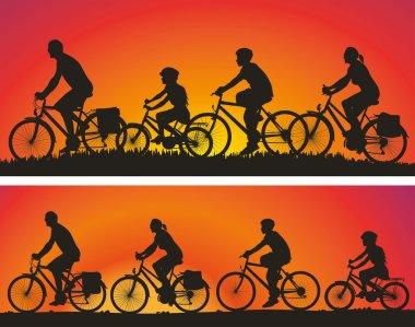 Family on a bike tour
