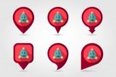 Fish flat pin map icon. Animal head vector